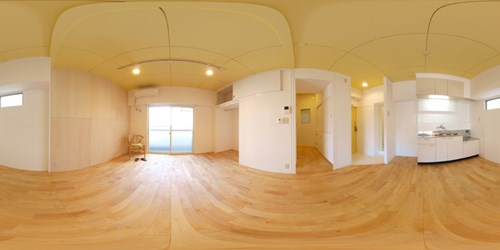 パノラマ:リノベーションミュージアム新高砂マンション704号室 - Yellow淡いイエローの天井が心地よい。女性に優しいお部屋です。